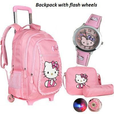 Hello kitty trolley school bags for girls cartoon children backpack with  wheels teenage school bags women mochila infantil bolsa 8e4d418cd39d9