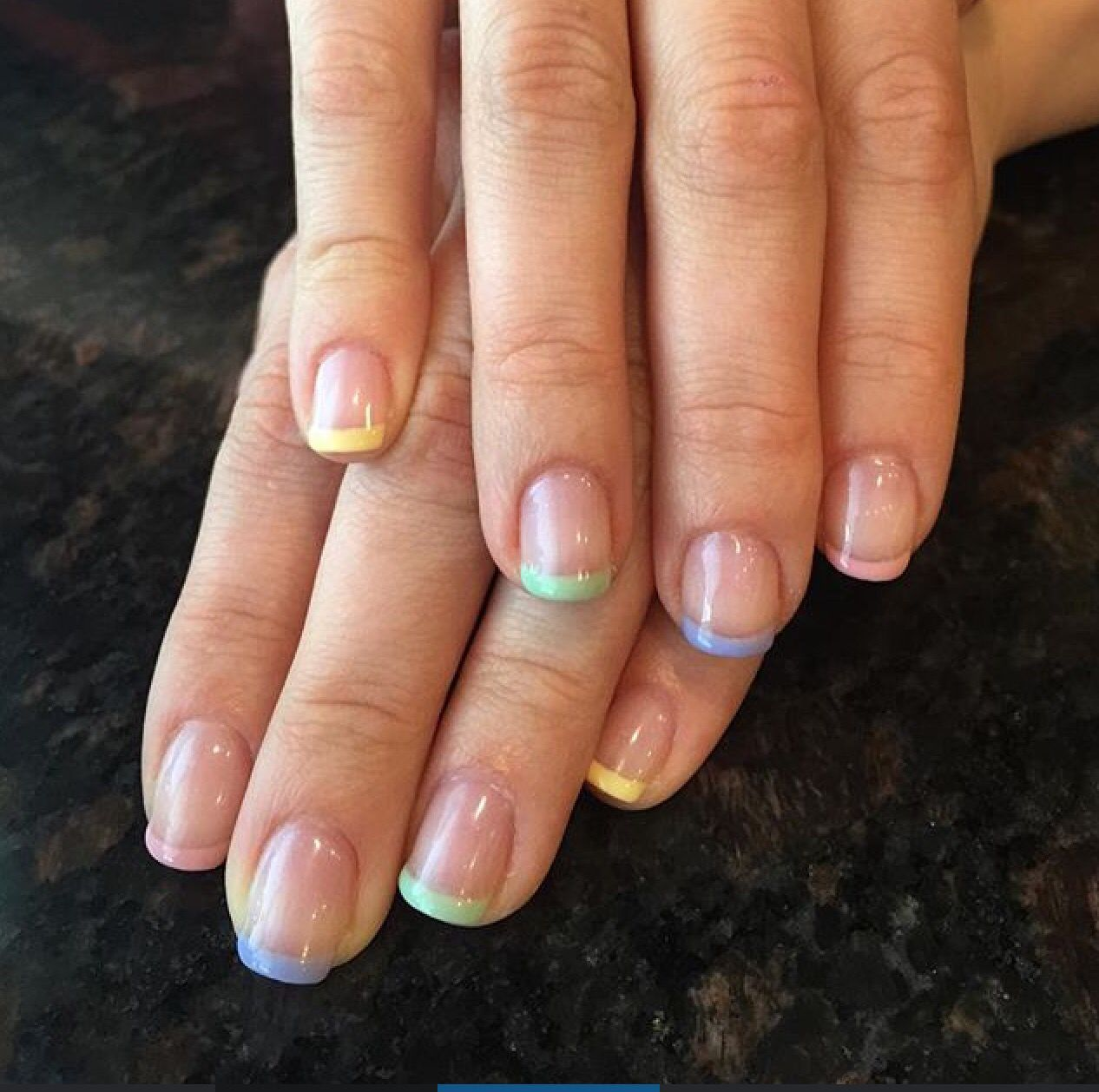 Rainbow french tip nails manicure | Nails | Pinterest | Nail ...