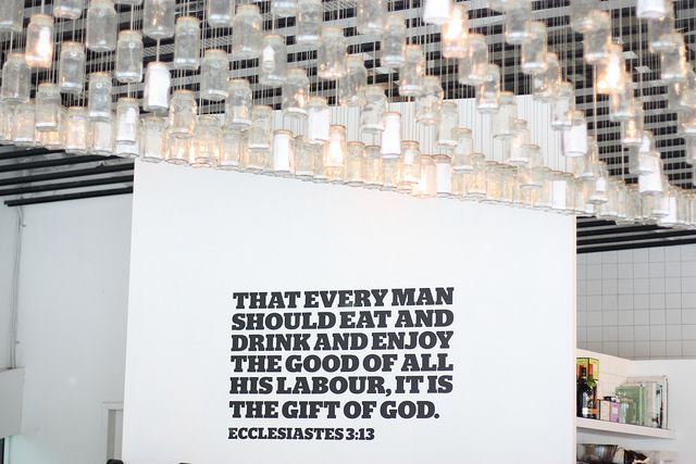 if I owned a restaurant this would be in it... the jar chandelier and the quote on the wall