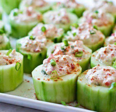 Another cool idea...    Cucumber Cups    Cut cucumber into segments, core partway through segment and fill. Can use fresh, finely chopped sushi grade fish, seasoned to taste (if you like sushi), cooked chicken, beef, crab, or other allowable protein.