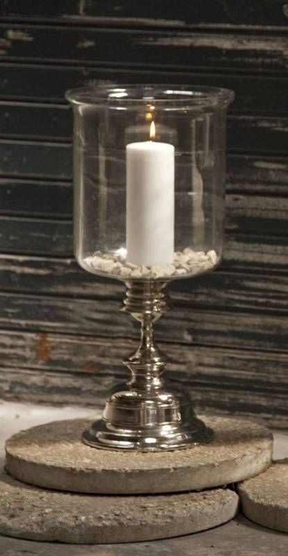 Merveilleux Contemporary Glass Hurricane Candleholder Holds Pillar Candles Aluminum  Base   Premier Home Decor