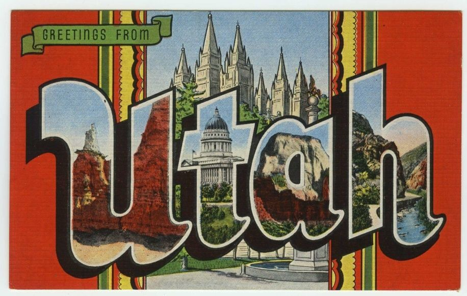 Large Letter Greetings from Utah Vintage Linen Postcard Large - letter greetings