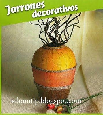 como hacer jarrones decorativos