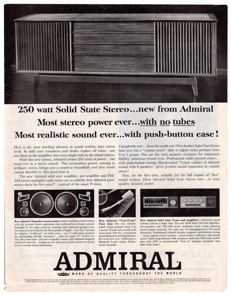 Vintage 1963 Admiral Stereo Magazine Print Ad 1960s Electronics