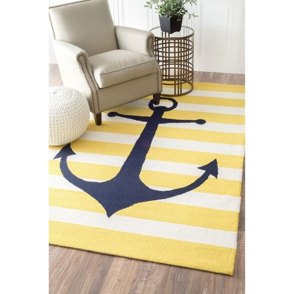 Nuloom Hand Hooked Novelty Stripe Nautical Anchors Yellow Wool Rug 7 6 X 9