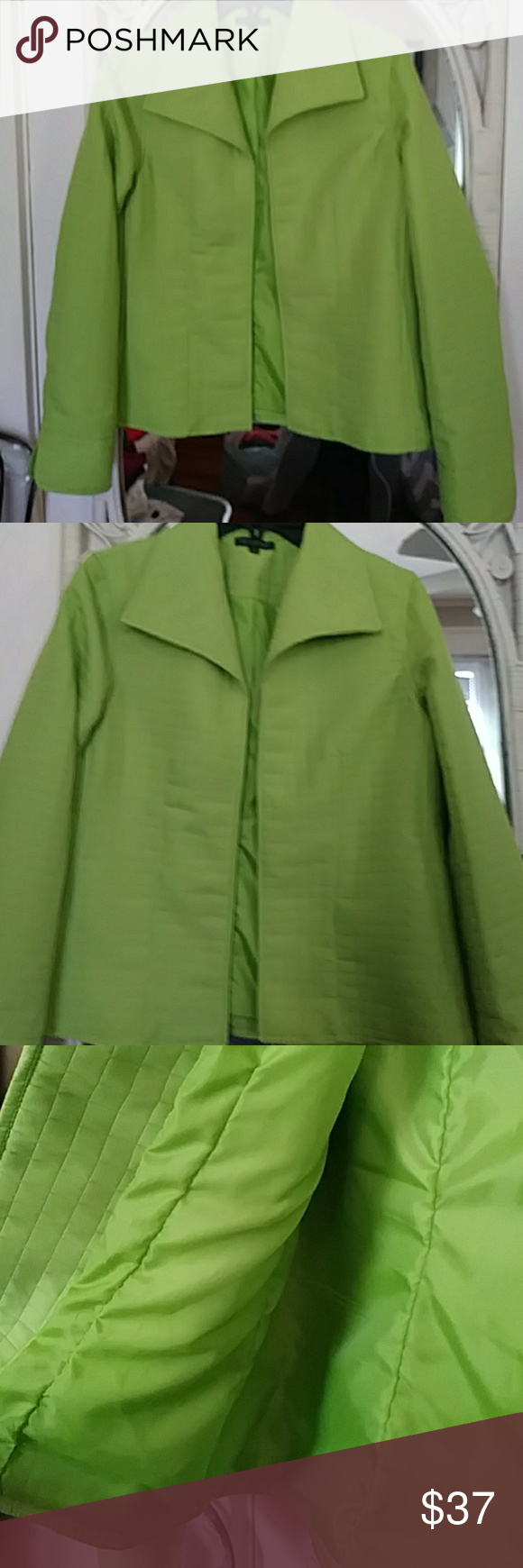 "💚For Cynthia...quilted open blazer💚👕👡 By Cynthia Rowley lightweight quilted blazer. Lime green and gorgeous. Size med. Excellent condition. Ready to wear. Fully lined 14"" under arm to bottom. 19.5"" flat pit to pit For CYNTHIA Jackets & Coats Blazers"
