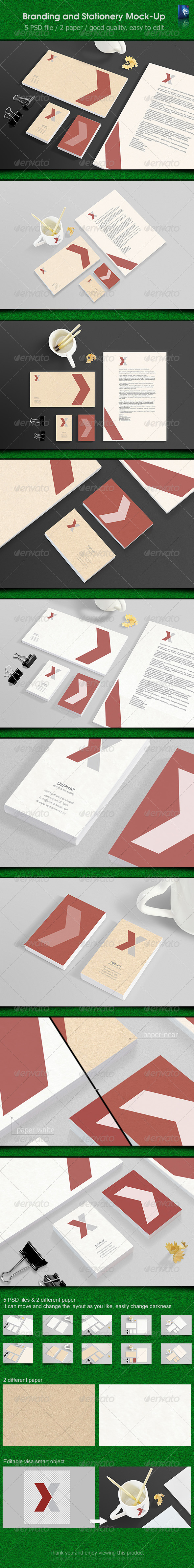 Stationery Mockups  #GraphicRiver         Stationery / Branding Mock-Up  	 - 5 Psd files  	 - Good quality, easy to edit  	 - Change can easily edit and smart  	 - Changeable background (automatic perspective)  	 - Resolution 3000×2000 px / logo muck-up 2200×1500 px  	 - Changeable sides appearance  	 - Including application design:  	 - Letterhead (A4)  	 - Business card (90×55 mm) & (55×90 mm)  	 - Envelope (120×220 mm)  	 - Cup  	 - Pencils  	 - Slecho                     Created: 28…
