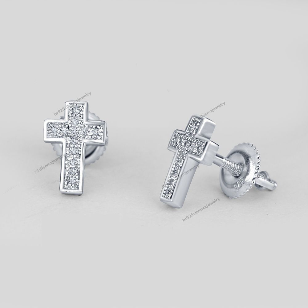Xmas Special 1 10 Ct Clear Diamond Cross Designs Men S Women Stud Earrings Ebay