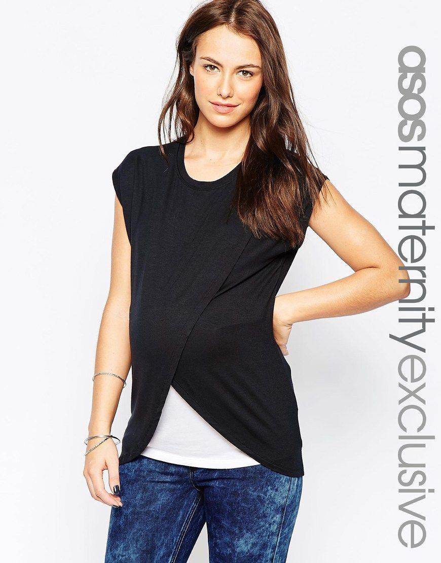 567c5491fee25 Image 1 of ASOS Maternity NURSING T-Shirt With Wrap Overlay