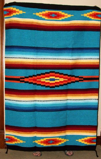 Saltillo Mexican Throw Or Area Rug Tapestry Southwestern Lg 4x6 Turquoise Blue