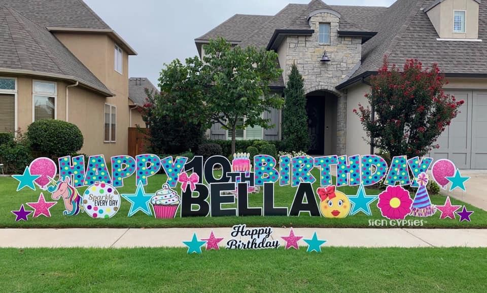 Happy Birthday Sign Gypsies South Tulsa In 2020 Birthday Yard Signs Birthday Yard Signs Lawn Happy Birthday Signs