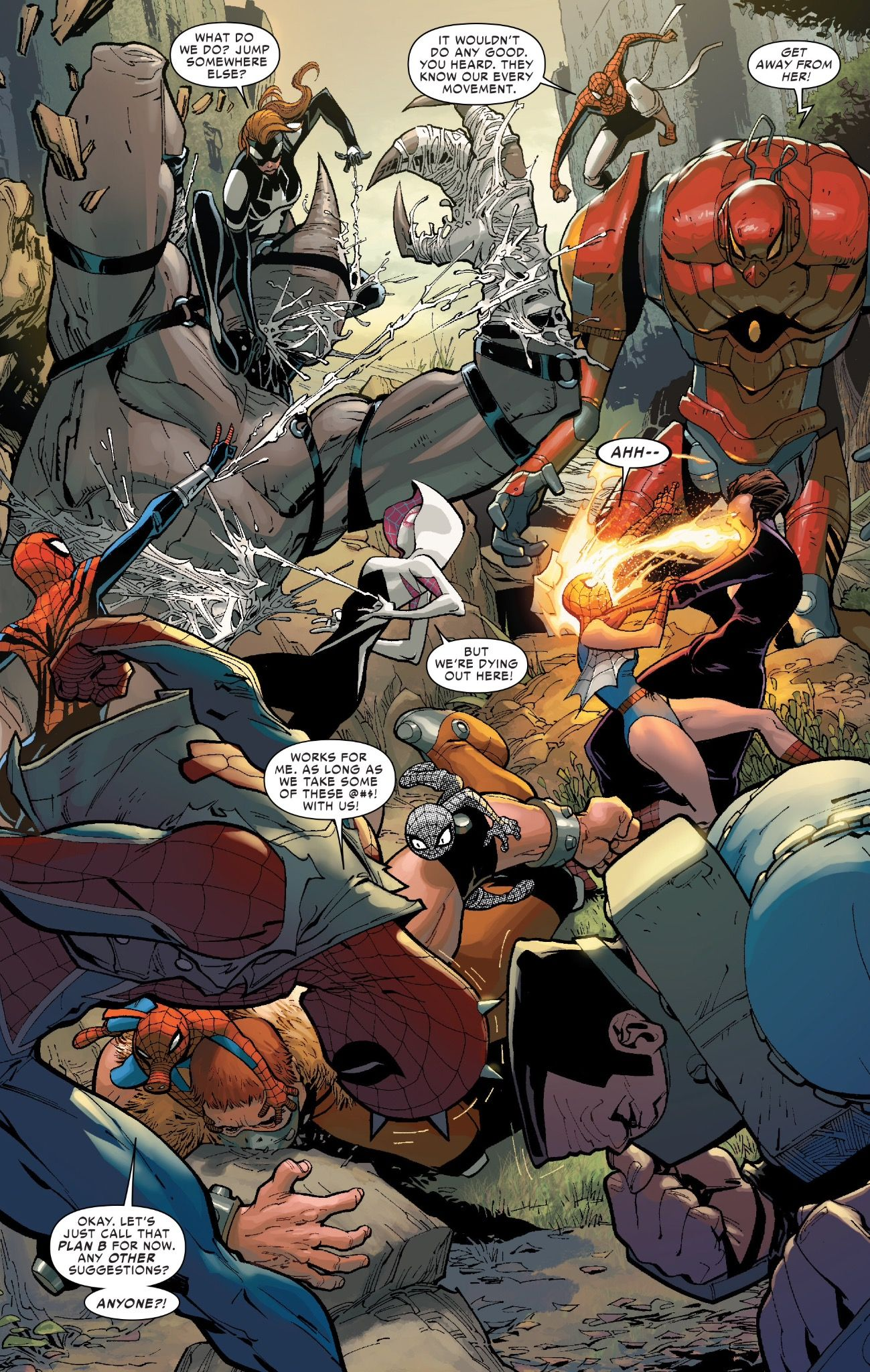 A big battle sequence in Amazing Spider-Man #12 (vol. 3)