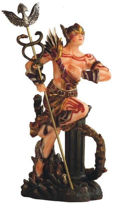 Greek God Hermes With Caduceus Scepter Statue Mythology