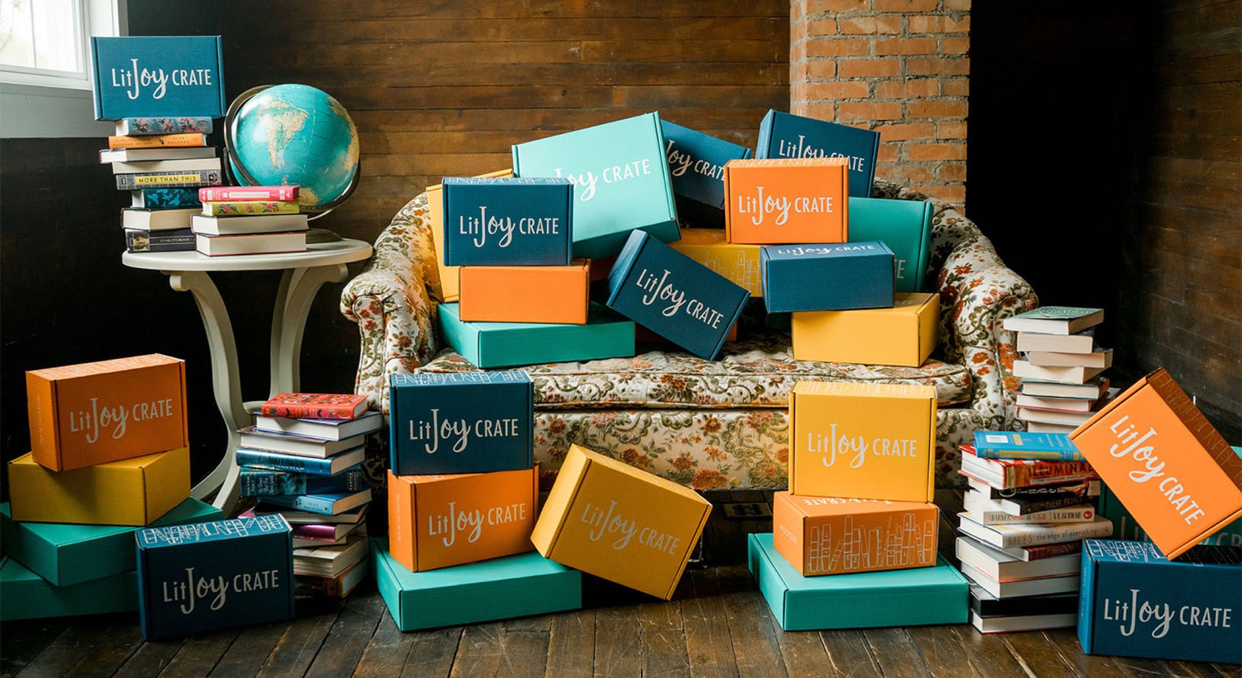 Couch, table, and floor covered with a LitJoy Crates