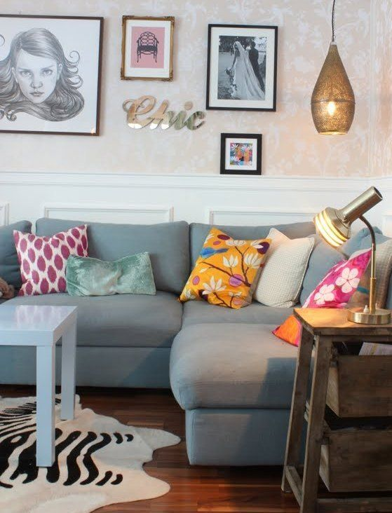 Idea Grey Sofa With Colourful Cushions Home Living Room Living Room Colors Home