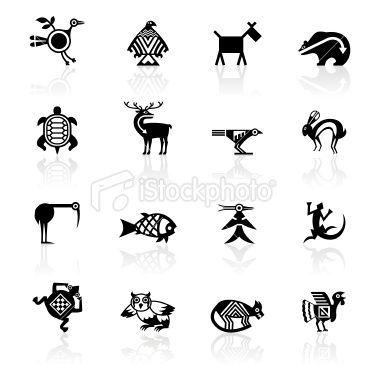 Indian tribal animals icons illustrations vectorielles am rique du nord et vectoriel - Symbole indien signification ...