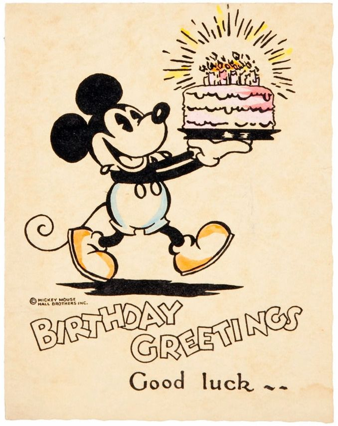 Mickey Mouse Birthday Card Birthday Cake Disney Comic Birthday