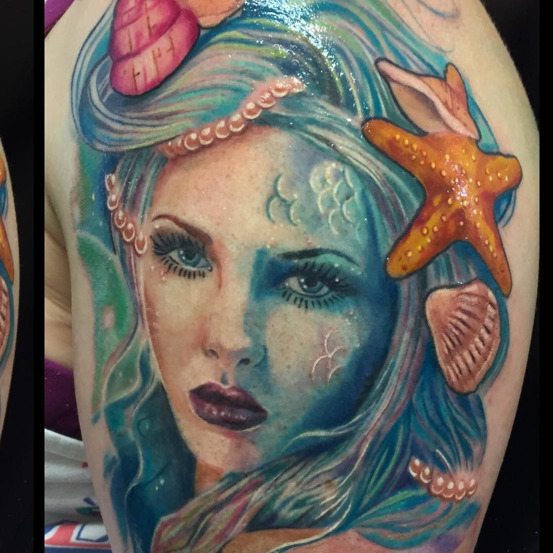 Sleeve Ink Tattoo Arm Color Tattoo Mermaid Saint: This Incredibly Clever Take On A Mermaid's Fin: