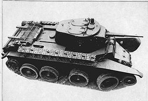 BT-7M, 1940, with tracks removed from the wheels and carried on the hull Type: Light cavalry tank; Place of origin: Soviet Union Service history: In service 1935–45 Wars: Soviet–Japanese Border Wars, World War II, Winter War