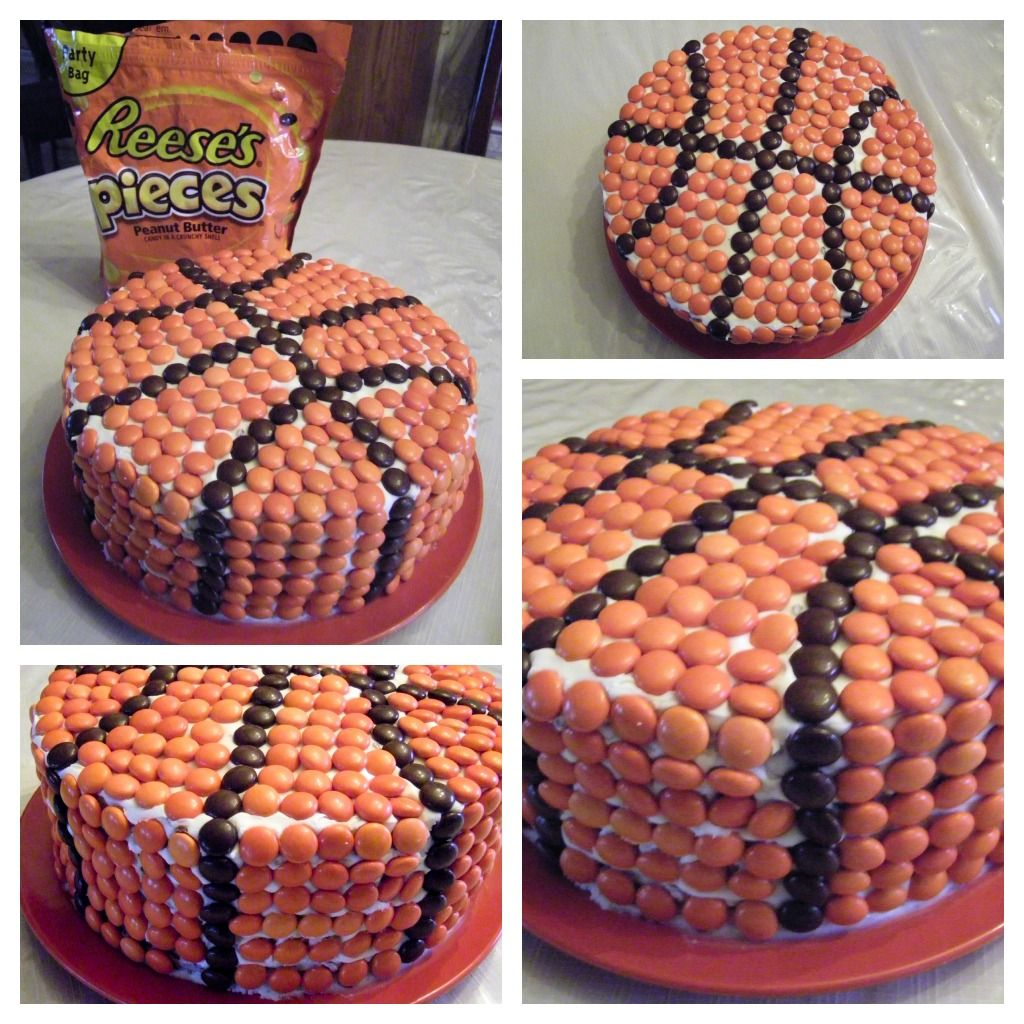very cool! Basketball Cake: round cake, frosting, Reese's Pieces.
