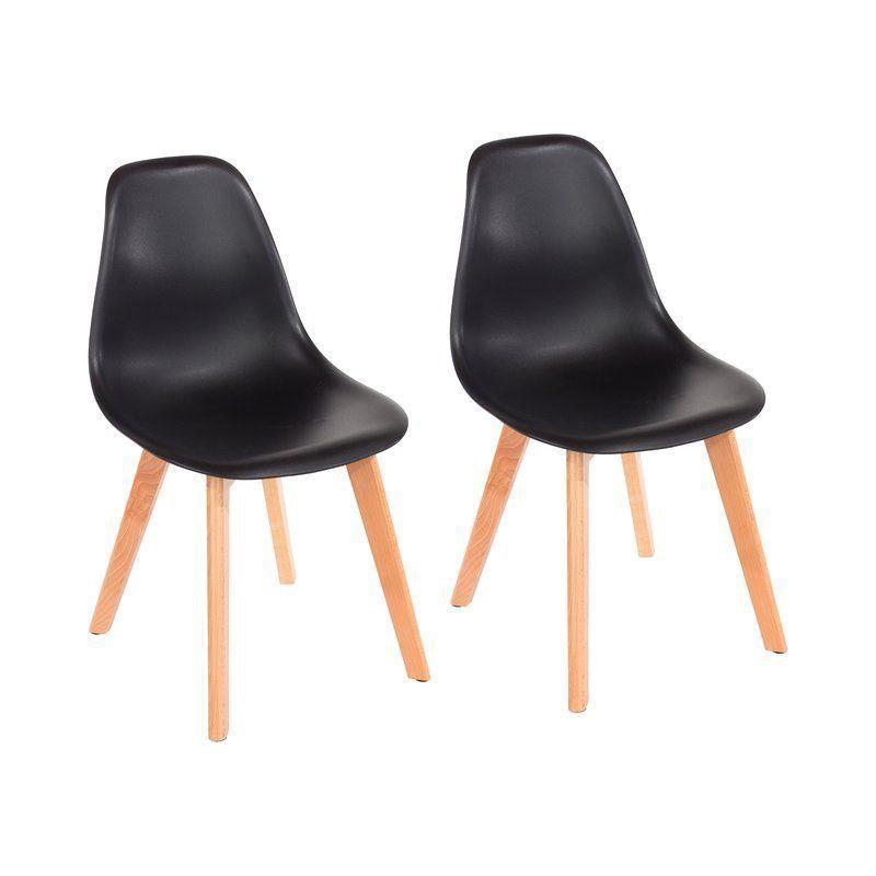 Black Dining Chair Plastic Solid Back Beige Leg Beech Wood Living Room  Furniture