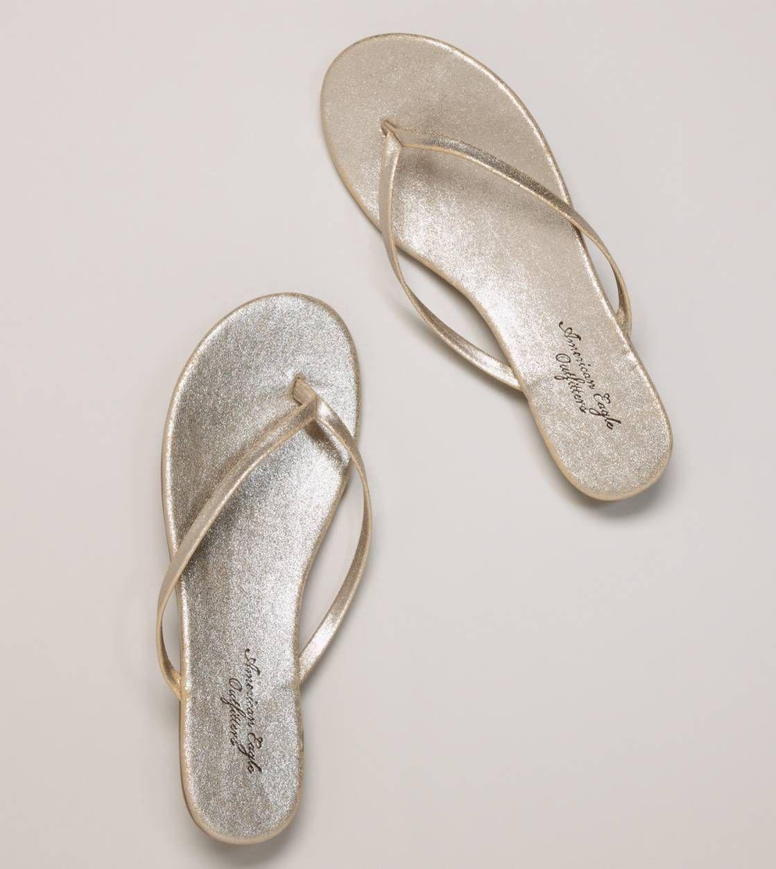 Simple, gold flip-flops. American Eagle.