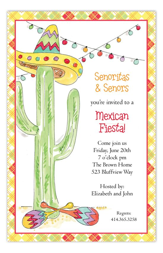 fiesta cactus invitation fiesta