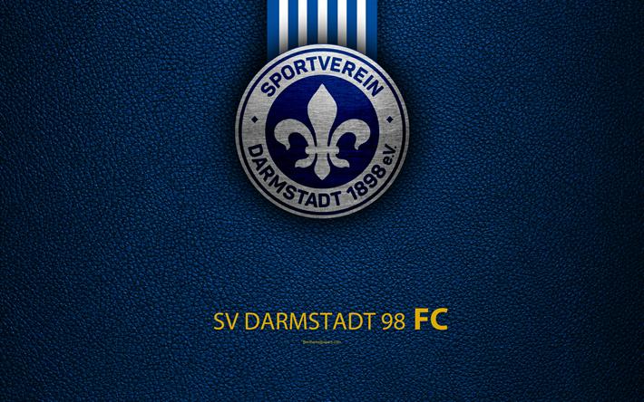 Lataa kuva SV Darmstadt 98 FC, 4K, nahka rakenne, Saksalainen jalkapalloseura, logo, Darmstadt, Saksa, Bundesliga 2, toisen divisioonan, jalkapallo