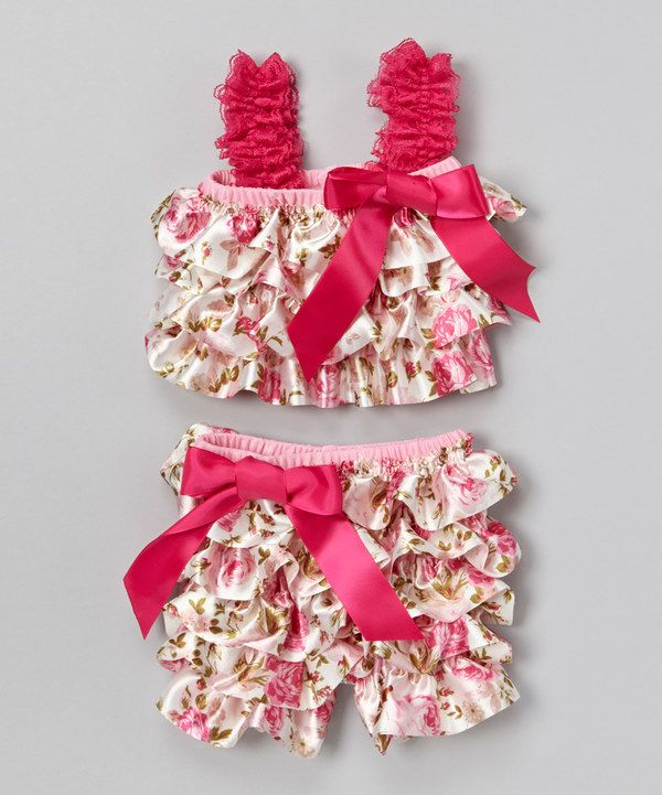 Look at this Stephan Baby Pink & White Ruffle Top & Bloomers - Infant on #zulily today!