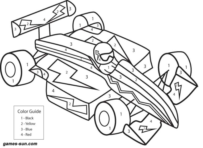 Race Car Color By Numbers Race Car Coloring Pages Numbers For Kids Cars Coloring Pages