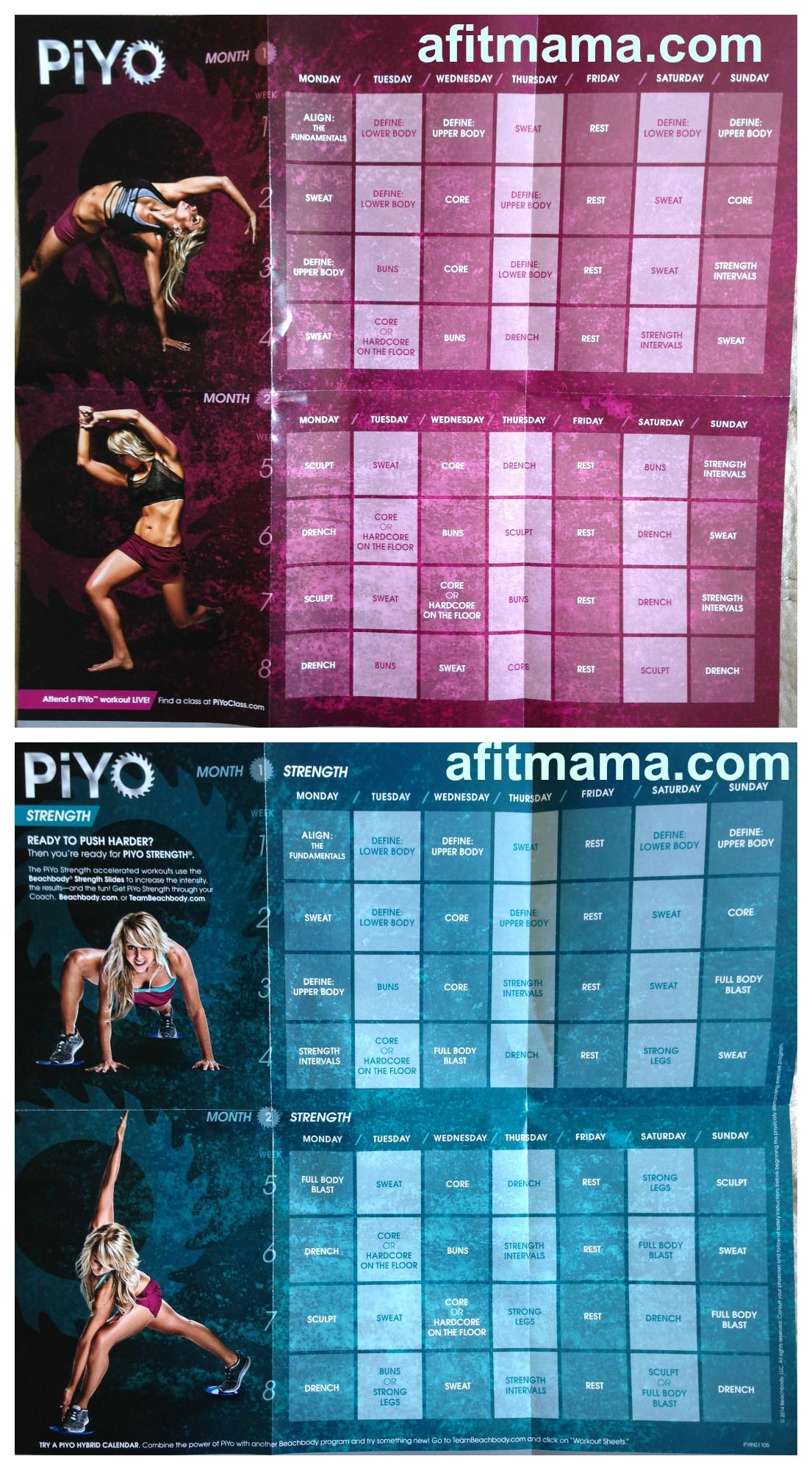 PiYo Workout Schedule and Calendar | Health | Pinterest | Piyo ...