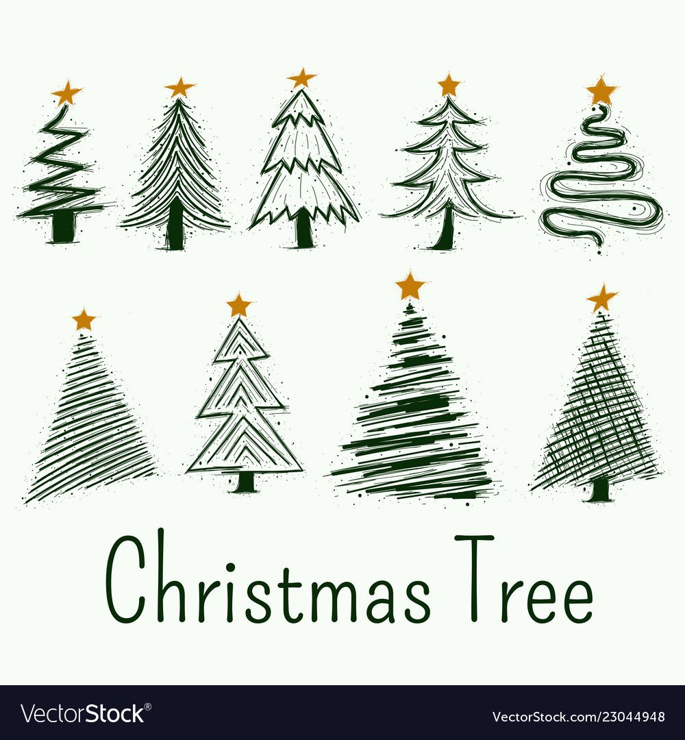 Hand Drawn Christmas Tree Symbols Set Vector Image On Vectorstock In 2020 Christmas Tree Drawing Christmas Tree Pictures Christmas Tree Outline
