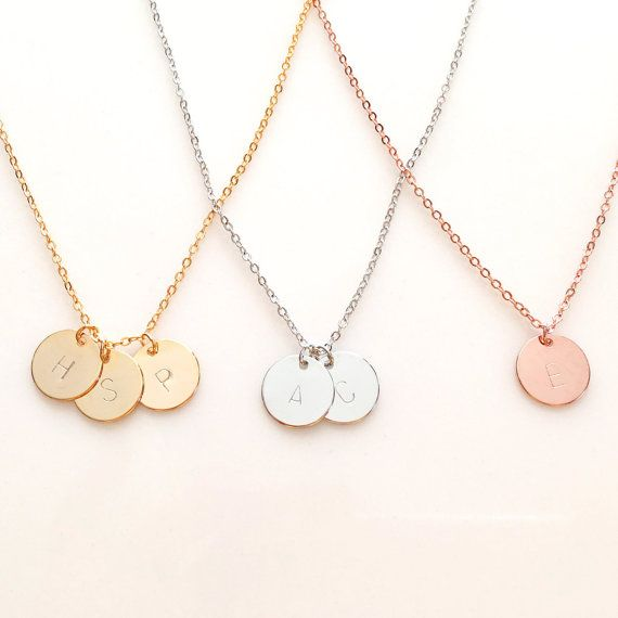 Sterling silver Personalized Initial circle disc Necklace...Follow your Heart layering bridesmaid gift simple everyday Anniversary
