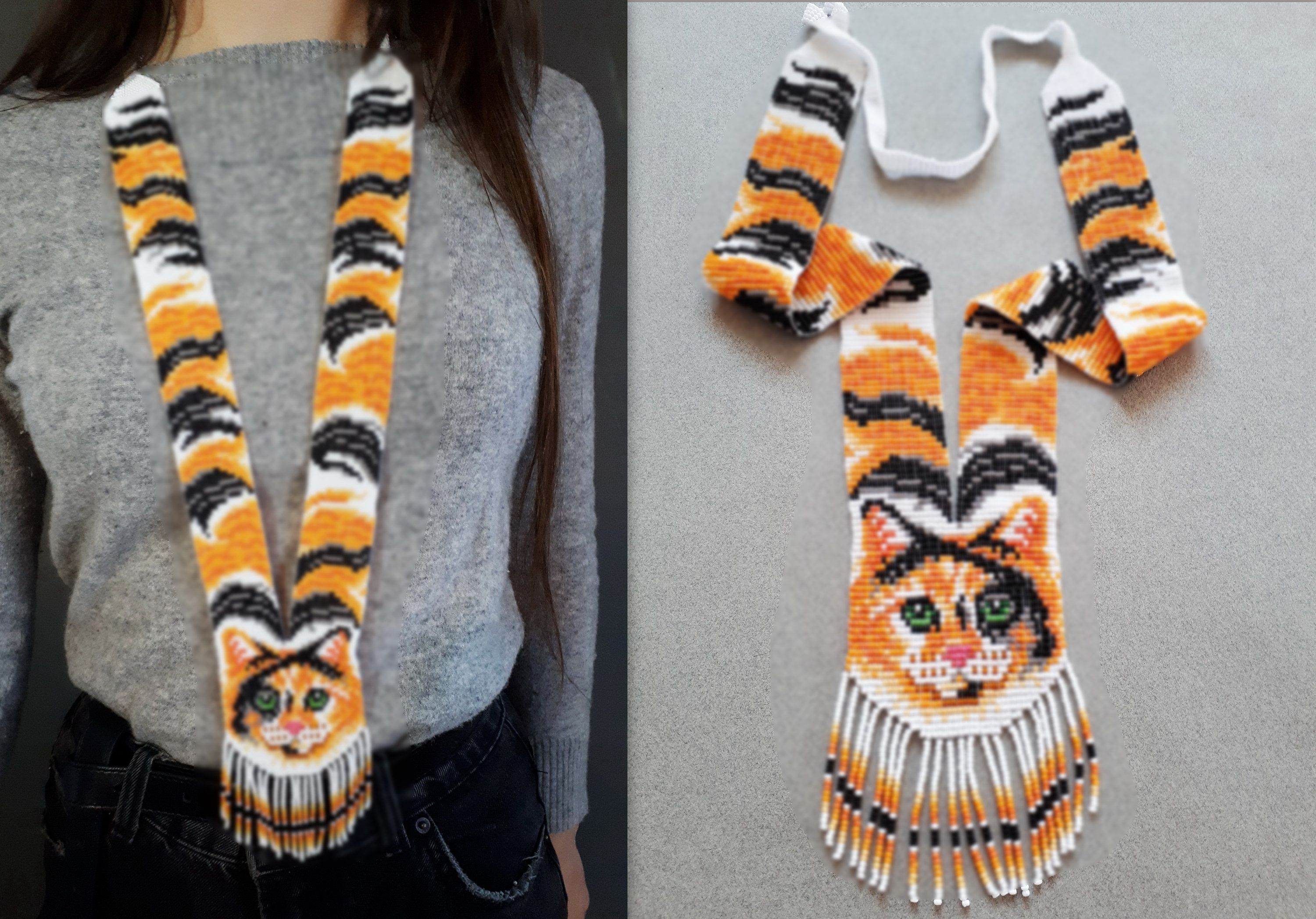 Seed Bead Long Statement Native American Style Necklace With Cat. Gift for cat lovers #giftsforcats