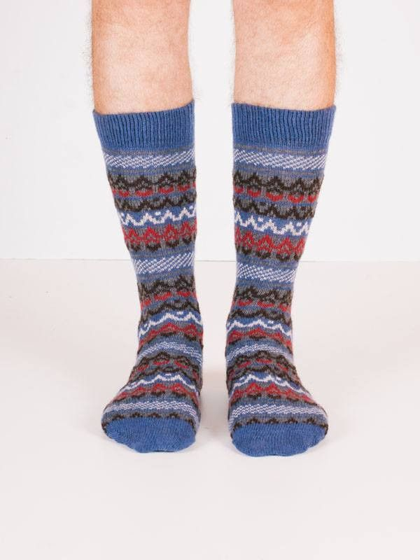 Men's fair isle wool + cashmere crew length socks