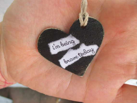 handmade necklace .. i'm being brave today .. black heart charm .. best friends ... encouragement