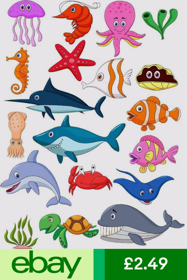 Sea Creatures Bathroom Kids Wall Art Sticker Full Colour Print Decal Transfer Under The Sea Drawings Art Wall Kids Fish Coloring Page