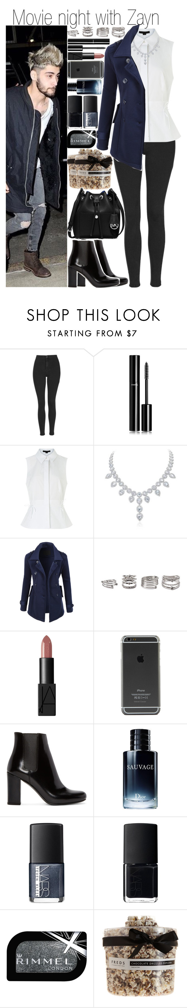 """Movie night with Zayn"" by fashion-onedirection ❤ liked on Polyvore featuring Topshop, Chanel, Alexander Wang, LE3NO, Forever 21, NARS Cosmetics, Yves Saint Laurent, Christian Dior, Rimmel and FREDS at Barneys New York"