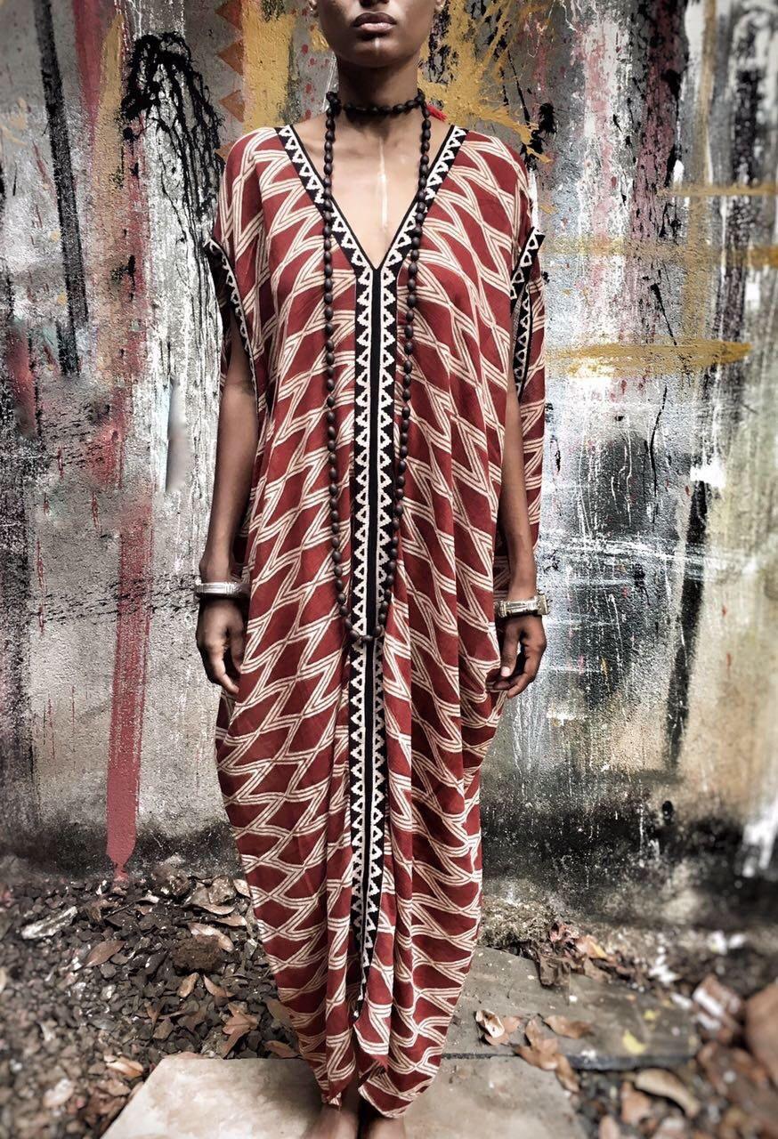 Sahara dress, Block print, Resort wear : bohemian beach wear, kaftan ...