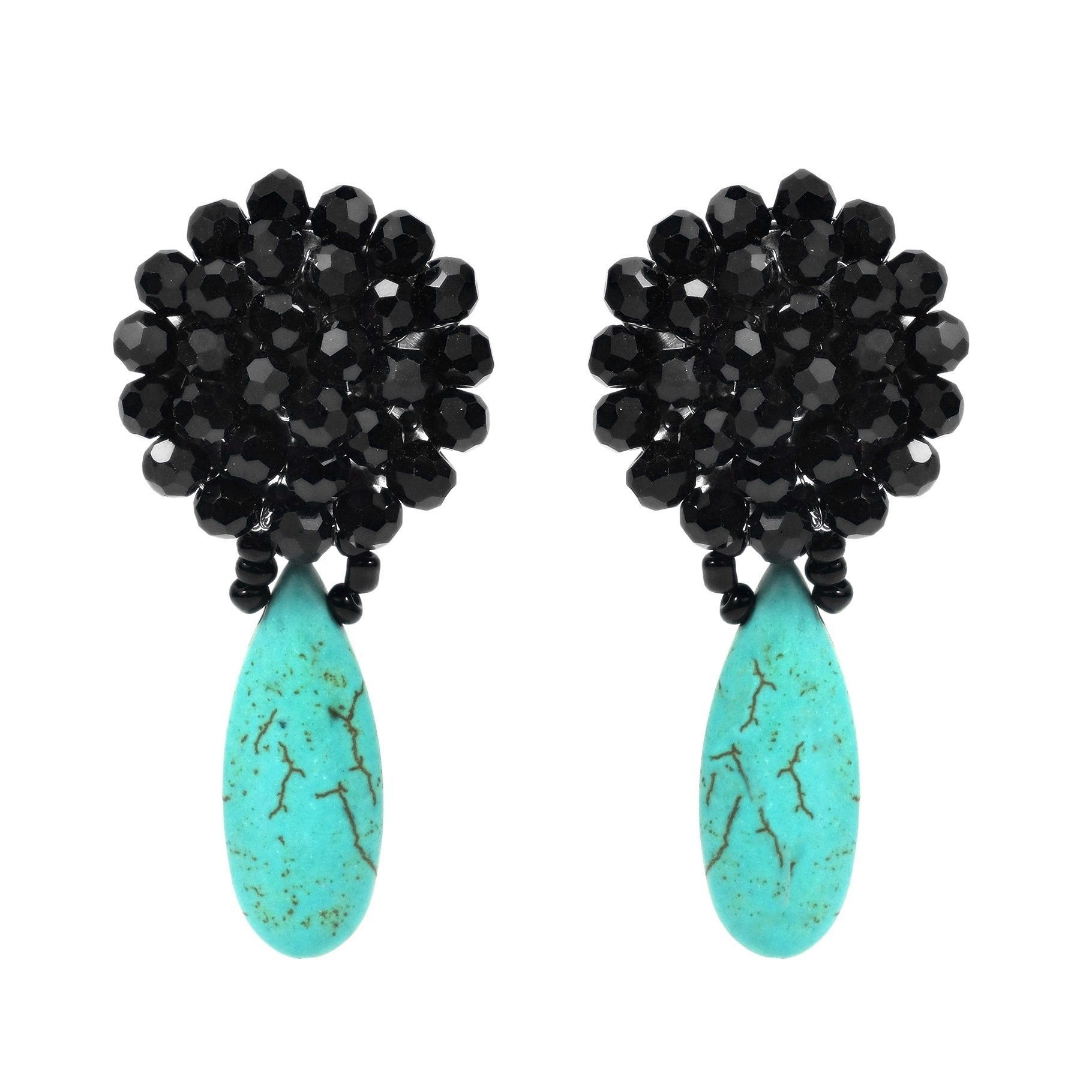 Artisan Naree handcrafted this unique and charming earrings. The earrings feature black crystal formed into a Chrysanthemum and teardrop shaped turquoise stone.