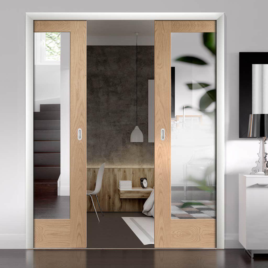 Pattern 10 Oak Double Evokit Pocket Doors - Mirror One ...