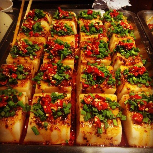 """Jinli """"snack street"""" in Chengdu. Steamed yam cake w chiles & cilantro"""