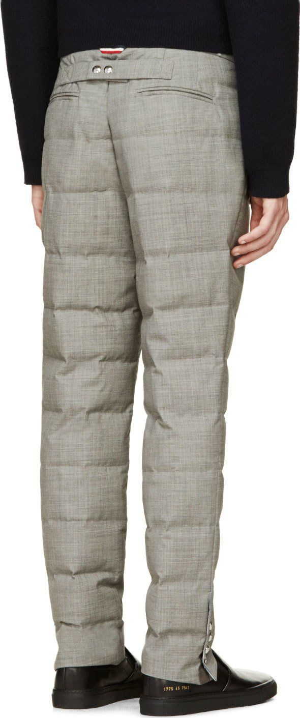 Moncler Gamme Bleu Grey Quilted Wool Trousers   Men pants ... : mens quilted pants - Adamdwight.com