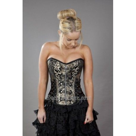 Rock overbust corset with studs in brown king brocade