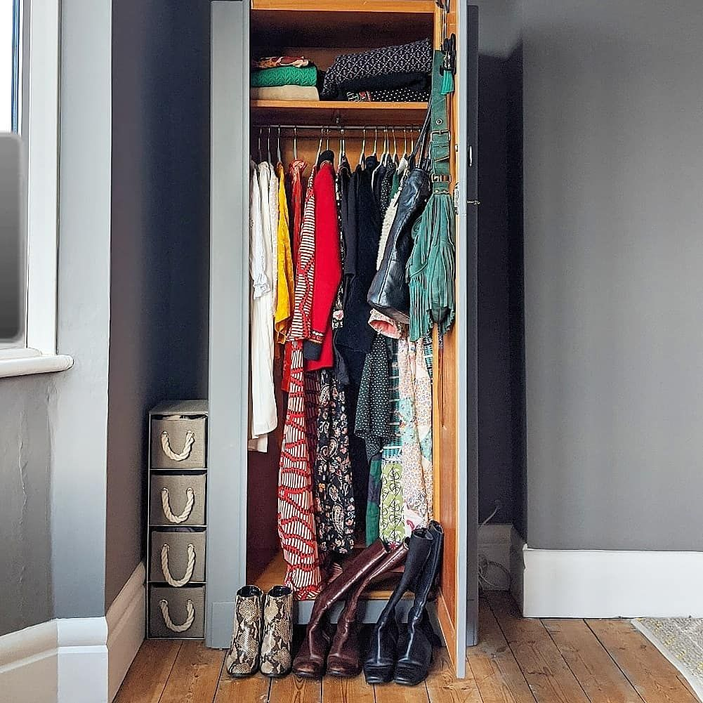 A Photo Of My Small Wardrobe With The Door Open 3 Pairs Of Boots Are Lined Up In Front 2 Handbags Are Hung On The B In 2020 Small Closet Small Drawers Small Wardrobe