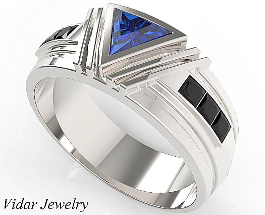 Unique Triangle Cut Blue Sapphire Wedding Ring For Mens Custom