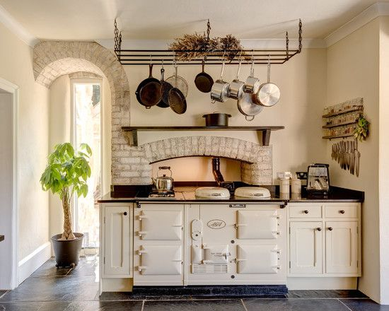 , Traditional Kitchen Design White And Beige With Farrow And Ball Pointing Color Also Classic Kitchen Table And Cabinet Design With Stone Bricks Accent Also Black Stone Flooring And Comely House Plant On Pot: Farrow and Ball Kitchen Makeover Style