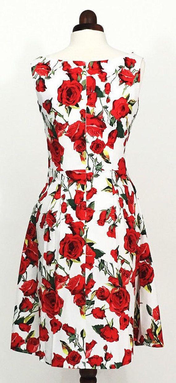 5cbdf54615 Summer dress floral dress red rose dress sundress wedding