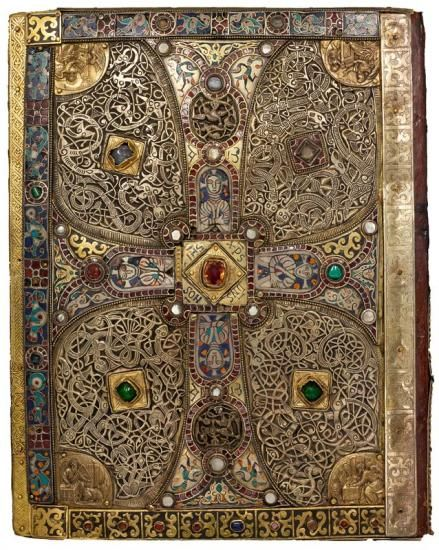 Gilt silver, enamel, and jeweled bookcover - MS M. 1 - probably made in Salzburg ca.760-90 - this earlier binding was used as lower cover on Lindau Gospels - the four medallions with the Evangelists were added in 1594 - The Morgan Library & Museum