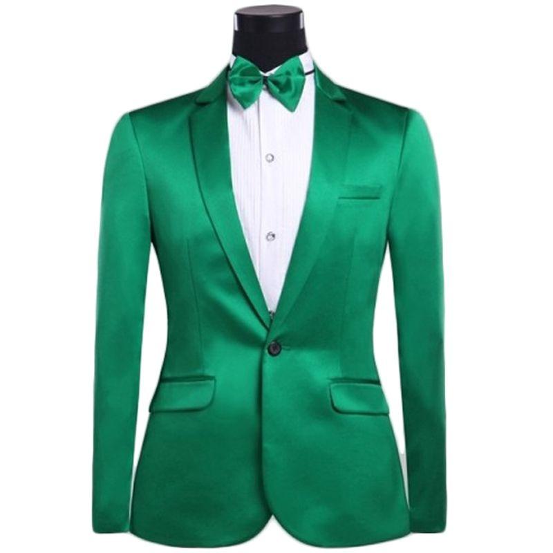 2017 Latest Coat Pant Design Green Satin Men Suit Slim Fit 2 Piece ...